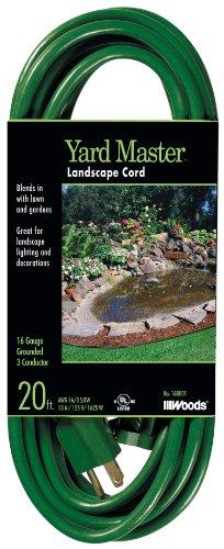 Woods 160001 16/3 SJTW Yard Master Landscape Extension Cord, Green, 20 Foot