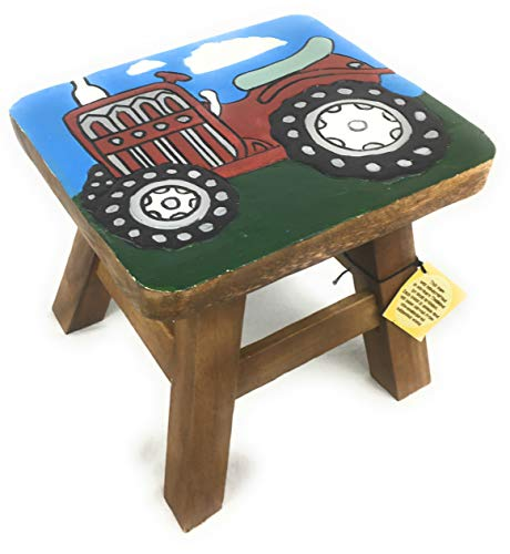Hand Painted Wood Furniture - Home Furnishings Child's Solid Wood Stool Hand Carved Stained and Painted Farm Tractor Red Black Green Blue
