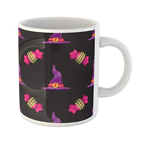 Semtomn Funny Coffee Mug Purple All Plasticine for Halloween Dark Pattern Fills Saints 11 Oz Ceramic Coffee Mugs Tea Cup Best Gift Or Souvenir]()