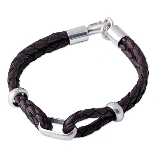 "NOVICA Men's .925 Sterling Silver Brown Leather Braided Bracelet with Hook Clasp, 8.75"" 'Naturally'"