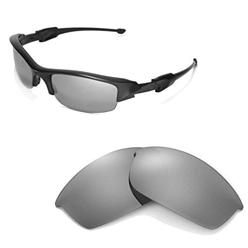 Walleva Replacement Lenses for Oakley Flak Jacket Sunglasses -Multiple Options Available (Titanium Mirror Coated - Polarized) (Titanium Replacement)