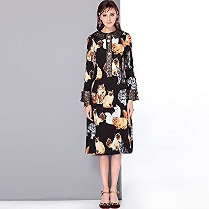 a76e278615 Amazon.com   JIALELE Women s A Line Dress - Animal Print Shirt ...