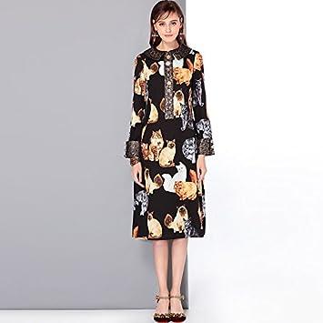 JIALELE Una línea de mujeres vestido - Animal Print Collar de la camisa,Negro,