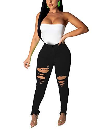 Halfword Women's Ripped Stretch Denim Skinny Jeans High Waist Mid Rise Straight Leg Jean Distressed Plus Size Jeans Black