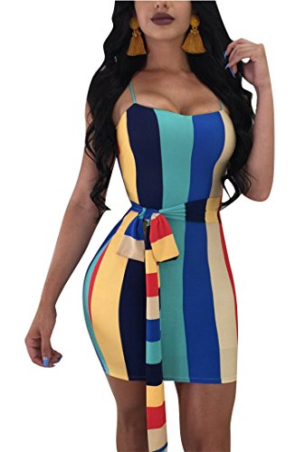 Clothing Belt Rainbow Dresses Womens (Speedle Women's Fashion Sexy Strap Color Block Rainbow Striped Print Bodycon Dress with Belt Floral 1 L)