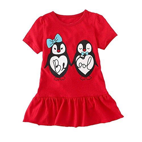 Coralup Little Girls Short Sleeve Cotton Dress H8118(Penguins,2T,Red)