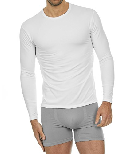 Thermajohn Mens Ultra Soft Thermal Shirt - Compression Baselayer Crew Neck Top - Fleece Lined Long Sleeve Underwear T Shirt (White, Medium) (Dress White Cricket)