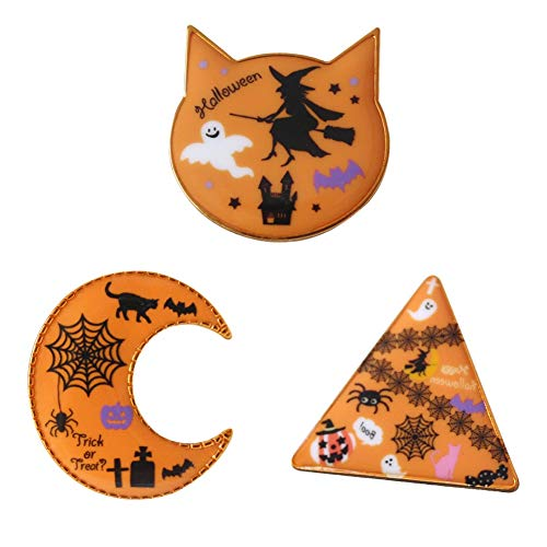 Stock Show 3Pcs/Pack Halloween Orange Cat Head Triangle Moon with Cute Pattern Design Brooches Halloween Badges Ghost Pumpkin Cartoon Personalized Brooch Pin for Holiday Party Ornaments Friends -