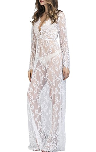 Yomoko Women Sexy Deep V-Neck Long Sleeve Lace See-Through Maternity Photography Maxi Dress for Beach Photo Shoot