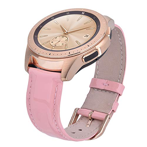 CAGOS Compatible Galaxy Watch (42mm) Bands Women, Ticwatch E Bright Patent Leather Accessory Band Wristband Strap Replacement for Garmin Vivoactive 3/Samsung Gear Sport Smartwatch (Pink) - Patent Leather Band