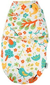 Newborn 100% Cotton Swaddle, Autumn and Winter Anti-Shock Baby Sleeping Bag (Bird, 5733cm)