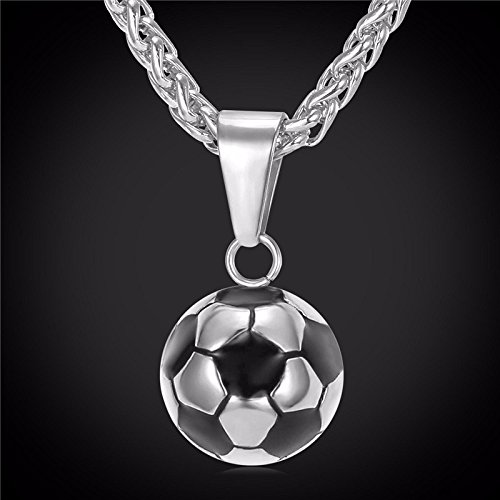 New Fashion Soccer Necklaces Men Jewelry Stainless Steel Fitness Football Sport Pendant & Chain Fathers Day Gifts For Dad (Stainless Steel (Father's Day Colors)