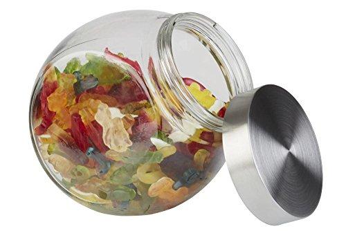 APS großes Vorratsglas, Vorratsdose mit Edelstahl Schraubdeckel 12,5 x 19cm, H: 18cm, Fassungsvermögen 1 Liter