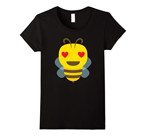 [Women's Worker Bee Emoji Heart Love Eye Shirt T-Shirt Honey Hive Tee Large Black] (Cute Female Nerd Costumes)