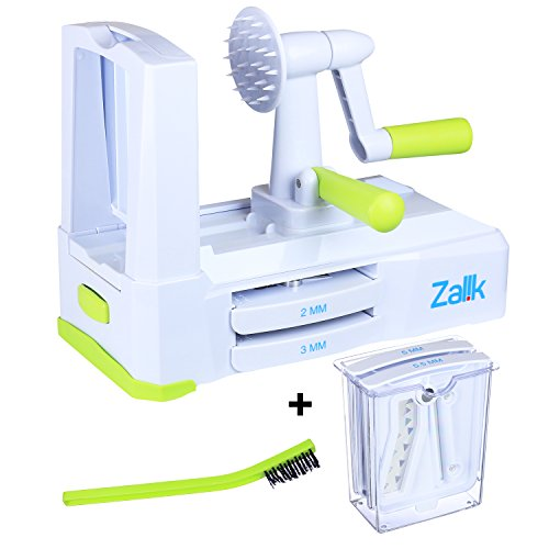 Zalik 5-Blade Spiralizer - Vegetable Spiral Slicer With Powerful Suction Base - Strong & Heavy Duty Veggie Pasta Spaghetti Maker for Low Carb/Paleo/Gluten-Free Meals With Extra Blade Storage Caddy by Zalik (Image #3)