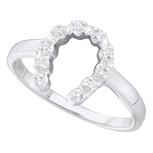 Ladies Diamond Horseshoe Ring (14kt White Gold Womens Round Diamond Simple Lucky Horseshoe Ring 1/20 Cttw)