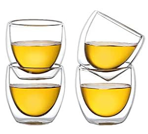 Moyishi Double Walled Clear Glass Espresso Wine Cup (Set of 6) 80ml