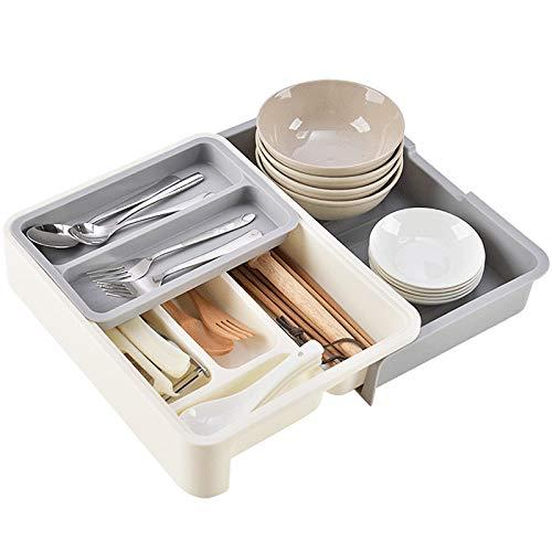 Flatware Utensil Drawer Organizer,Expandable Cutlery Drawer Trays for Silverware, Serving Utensils, Multi-Purpose Storage for Kitchen, Office, Bathroom Supplies (Grey)