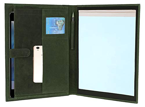 Green Padfolio (Handmade Genuine Leather Business Portfolio by Rustic Town | Professional Organizer Men & Women | Durable Leather Padfolio with Sleeves for documents and Notepad (Moss Green))