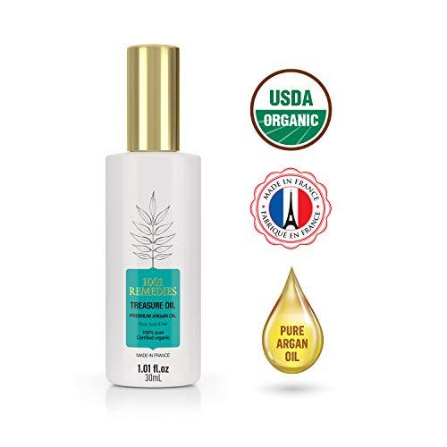 1001 Remedies Argan Oil, Moroccan Oil Hairspray To Stimulate Hair Growth & Repair Damaged Hair- Argan Oil For Face & Skin, Anti-Aging Serum - USDA Certified Organic, Cold Pressed, 100% Pure, Virgin