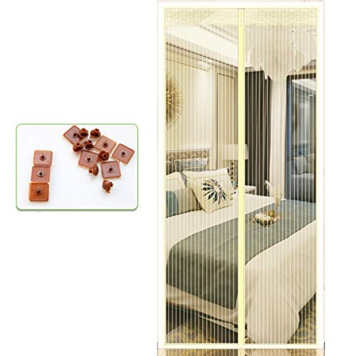 ALWUD Magnetic Screen Door, Glue Screen Door Magnets with Heavy Duty Mesh Curtain Self Sealing,Beige_39x87in/100x220CM