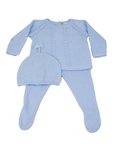 Angel Dear Baby Boys Cable Sweater Set Gift Outfit Newborn Take Me Home,Blue (0-3 Months, Powder Blue)