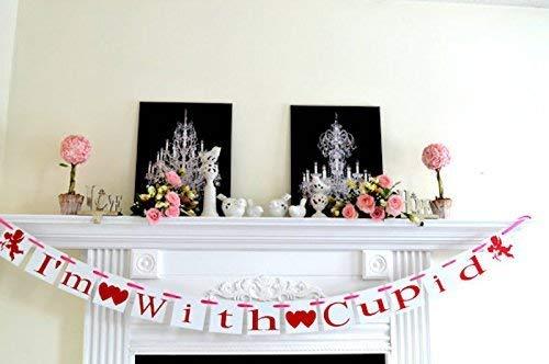 Im With CUPID Banner Valentine Garland Valentines Day Decorations//Be My Valentine Cupids Arrow