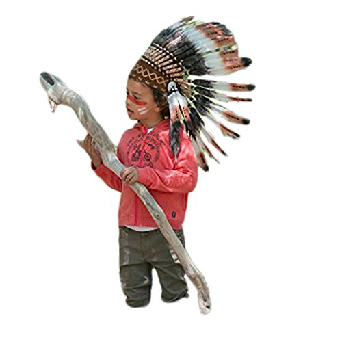 [For Children: Indian Three Colors Brown Feather Headdress] (Greatest Halloween Costumes Ever)
