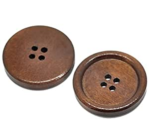 "HOUSWEETY 30PCs Reddish Brown 4 Holes Round Wood Sewing Buttons 30mm(1 1/8"")Dia."