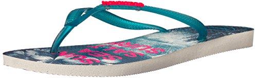Havaianas Women's Slim Paisage Flip Flops White/Turquoise 37-38 M Bra