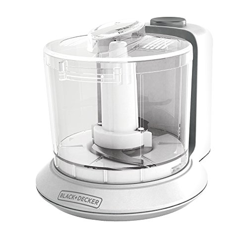 BLACK+DECKER HC306C One-Touch Chopper, 1.5-Cup Capacity Electric Food Chopper with Improved Assembly & Lid, White Mini Food Processor