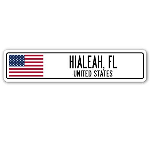 HIALEAH, FL, UNITED STATES Street Sign American flag city country - Fl Us Hialeah