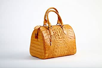 Crocodee Yellow Crocodile Leather Ginnie Satchel Handbag Purse