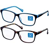Blue Light Blocking Computer Glasses 2 Pack Decrease Eye Eyestrain Unisex(Women/Men) Glasses with Spring Hinges Nerd Reading Gaming Glasses