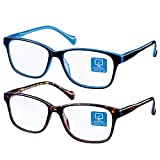 K KENZHOU Blue Light Blocking Computer Glasses 2 Pack Anti Eye Eyestrain Unisex(Men/Women)