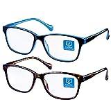 Blue Light Blocking Computer Glasses 2 Pack Anti Eye Eyestrain