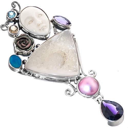 4'' Goddess DRUZY Drusy MABE Pearl Opal Amethyst GEMS 925 Sterling Silver Pendant YE-3456