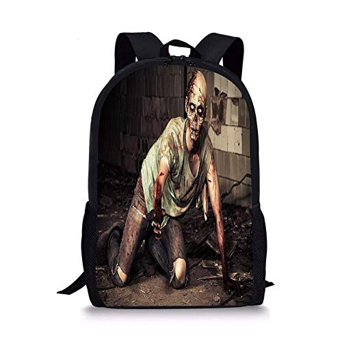 School Bags Zombie Decor,Halloween Scary Dead Man in Old Building with Bloody Head Nightmare Theme,Grey Mint Peach for Boys&Girls Mens Sport Daypack ()
