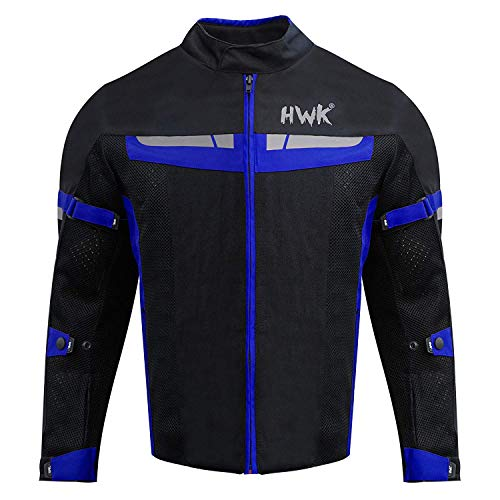 (HWK Mesh Motorcycle Jacket Riding Air Motorbike Jacket Biker CE Armored Breathable (XXXX-Large, Blue))