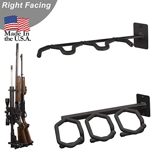 Hold Up Displays - Gun Rack and Rifle Storage Holds 3 Shotguns or Rifles Facing Right for Winchester Remington Ruger Firearms and More - Heavy Duty Steel - Made in USA