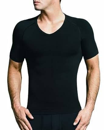 EQUMEN Men's Core Precision Undershirt Short Sleeve V Neck L Black