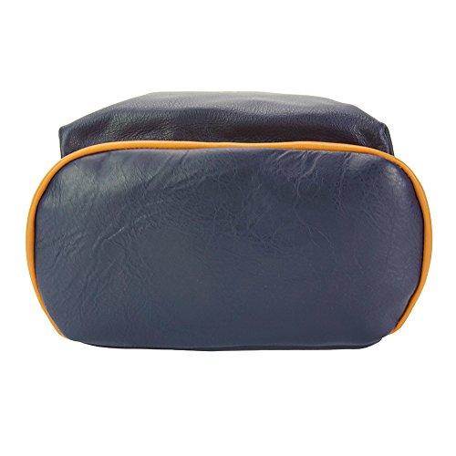 MOCHILA CAROLA EN PIEL DE BECERRO 9010 Azul oscuro-marron claro