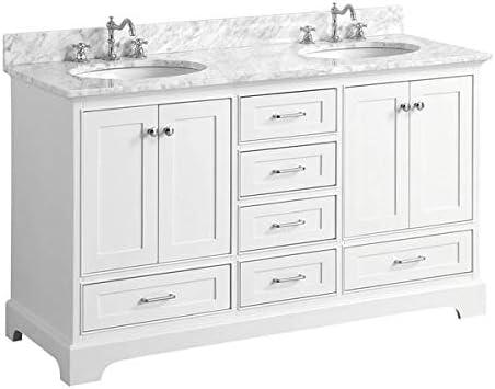 Harper 60-inch Double Bathroom Vanity Carrara/White : Includes White Cabinet