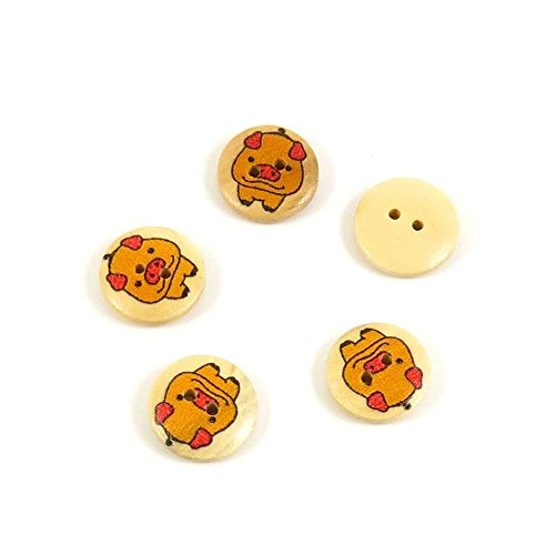 Price per 10 Pieces Sewing Sew On Buttons AD1 Pig Yellow Round for clothes in bulk wood Crafts Boutons