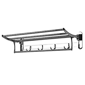 Bathroom Towel Rail | Hooks, Foldable Shelf and Drying Rack | Rust Proof Stainless Steel | Wall Mounted Bath Storage | M…