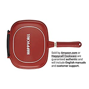 "Happycall Nonstick Double Pan, Omelette Pan, Flip Pan, Square, Dishwasher Safe, PFOA-free, Red (Multi, 2.75""H)"