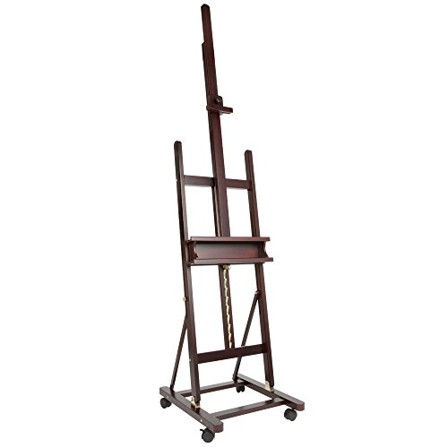 SoHo Urban Artist Wooden H-Frame Studio Easel - Deluxe Studio Easel Classic H- Frame Easel Solid Wood Supports Canvases Up to 71