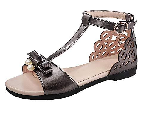 Puntera Mini Tacón Sólido Agoolar Velcro De Sandalias Abierta Pu Vestir Metalico Mujeres xqwCUHT