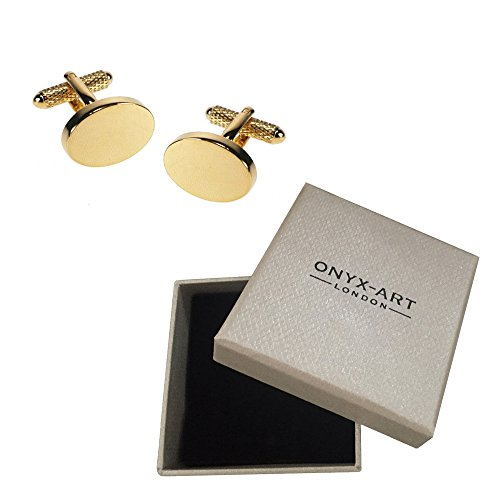 Onyx Art Plain Oval Cufflinks Gift Box Ideal For Engraving