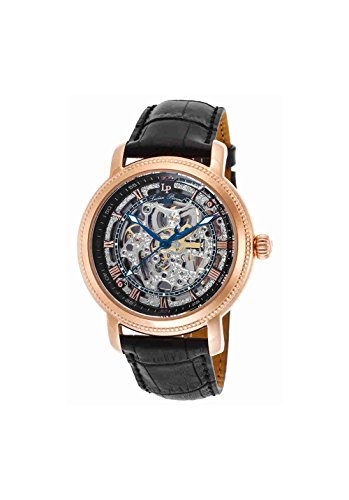 Paragon Mens Watch - Lucien Piccard Men's LP-40036A-RG-01 Paragon Rose Gold-Tone Stainless Steel Automatic Watch with Black Leather Band